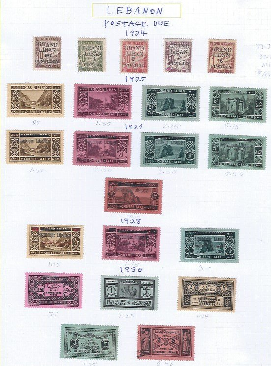 LEBANON POSTAGE DUE  MH  SCV $52.05 STARTS @25% OF CAT VALUE