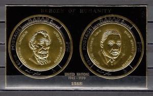 Manama, Mi cat. 547-548, BL110 B. Lincoln & M. Luther King, jr, IMPERF Gold F. ^