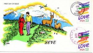US FDC #2143 Love Dual, Collins, H/P, (9232)