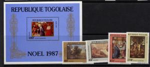 Togo 1448-52 MNH Christmas, Art, Paintings