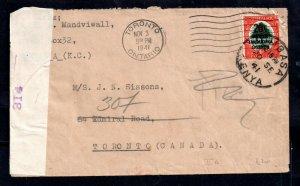 Tanganyika 1941 6d Censored cover Mombasa to Canada WS14653