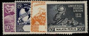 MALAYSIA - Perlis GVI SG3-6, anniversary of UPU set, NH MINT.