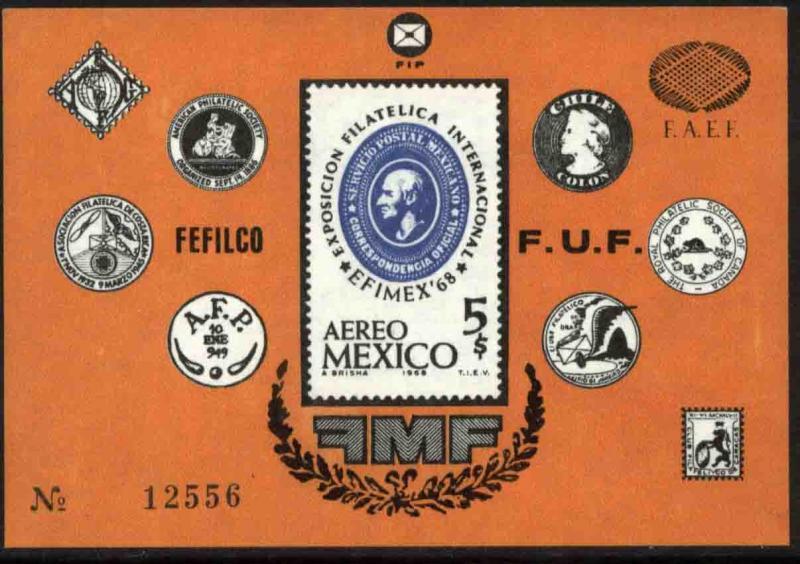 MEXICO C345, EFIMEX'68 Phil Exhibition Souvenir Sheet. MINT, NH. VF.