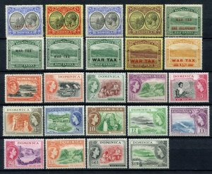 Dominica GV - Early QEII Mint Lot. Values to 3/-, $1.20. Inc Specimen. MM, MNH