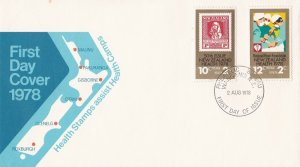 NZFD914) NZ 1978 Health Stamps Assist Health Camps Map cachet FDC