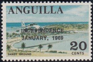 Anguilla 1969 MNH Sc #61 Overprint on 20c Sandy Ground Variety