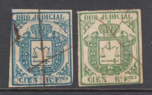Cuba Jones AA27, AA28 used. 1863 100r Legal Document (DERECHO JUDICIAL) fiscal