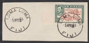 FIJI 1942/52 GVI 2½d on piece - LOMA LOMA cds - year only showing '2'.......L530