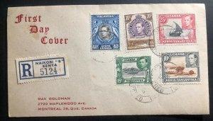 1952 Nairobi Kenya British KUT First Day Cover FDC To Montreal Canada