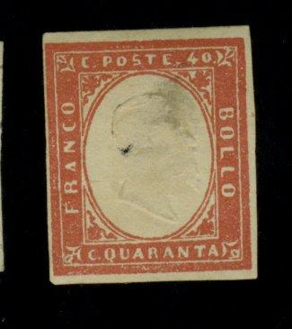Sardinia #13B MINT F-VF OG HR Carmine thins small hole Cat$775