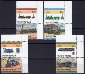 Tuvalu Vaitupu 1985 TRAINS LOCOMOTIVES (4) Pairs 8 values Perforated Mint (NH)