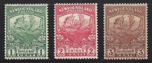 Newfoundland #115 116 117 OG VF
