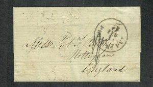 Transatlantic Ship Cover Philadelphia To Nottingham 1859 Cunard Europa