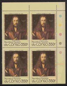 Congo (DR) #477 block of 4, F-VF Mint NH ** Albrecht Durer, self-portrait