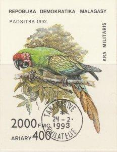 Malagasy Republic 1993 Ara Militaris Parrots Sheet Mi. Block 209 Used 11892