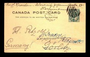 Canada 1912 Luseland SASK Crisp Cancel Card to Poland -> Germany - L27889