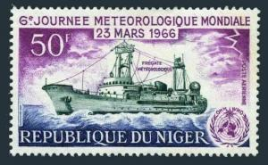 Niger C55,lightly hinged.Michel 117. WMO Day 1966.Weather Survey Frigate.