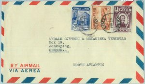 86097 - PERU - POSTAL HISTORY -  AIRMAIL  COVER to  SWEDEN  190's