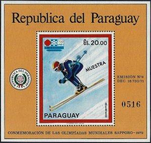 1971 Paraguay Olympics Sapporo, Downhill, Sheet Nr. 170 MUESTRA VF/MNH!