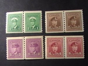 CANADA # 278-281--MINT NEVER/HINGED----COMPLETE SET OF COIL-PAIRS---1948
