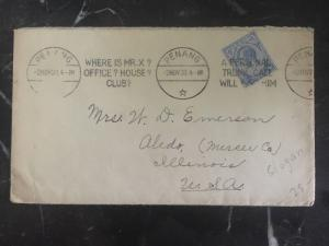 1933 Penang Straits Settlements Cover To Aledo IL Usa Slogan Cancel Where Mr X