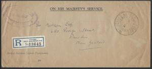 SOLOMON IS 1937 Registered OHMS cover REGISTERED LETTER TULAGI cds to NZ...12727