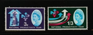 Great Britain the MNH 3d & 1/3 from the 1962 set with Phosphor bands