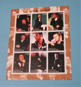 Tajikistan - Unlisted Illegal Sheet of 9. George Michael