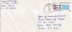 Caroline Islands Micronesia 2c Duperey on 20c Four-Star Envelope 1985 Kosrae,...