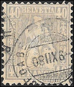 1867 SWITZERLAND  SC# 58 USED F SOUND CV $150.00