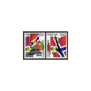Norway 1029-1030,MNH.Michel 1105-1106. Olympics Lillehammer-1992,Flags.