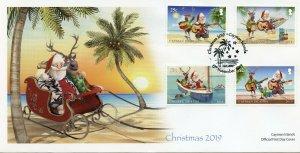 Cayman Islands Christmas Stamps 2019 FDC Deer Turtles Trees Birds 4v Set