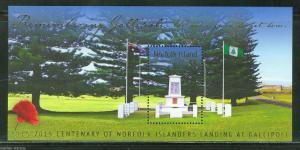 NORFOLK ISLANDS  2015 WORLD WAR I  GALLIPOLI  SOUVENIR SHEET  MINT NEVER HINGED