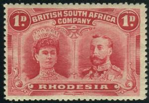 RHODESIA-1910-13 1d Rose Red.  A mounted mint example Sg 125