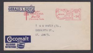 Newfoundland, 1954 Post-Confederation 4c Meter on Advertising Cover. COCOMALT