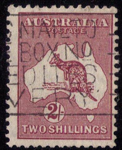 Australia Scott #99 Used Kangaroo & Map 2 Shillings F-VF