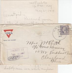 1918, USS Pueblo, ACR-7 to Cleveland, OH W/Letter, Censored (N4153)