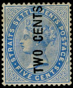 MALAYSIA - Straits Settlements SG77, 2c on 5c blue, UNUSED. Cat 170.