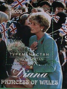 TURKMENISTAN STAMP- 1997-PRINCESS OF WALES- DIANA WITH THE BRITISH FLAGS-MINT-NH