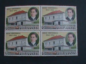 PHILIPPINES-1961 SC# 652-3 CENTENARY BIRTH OF JOSE RIZAL MNH BLOCK OF 4 STAMPS