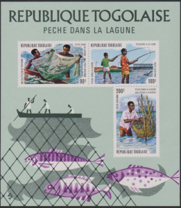 STAMP STATION PERTH Togo #C226a YTBF78 MNH S/S CV$10 Fishing in the Lagoon/Fish