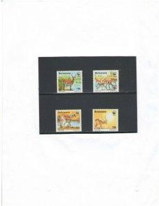 BOTSWANA: Sc. 432-5  / **Beautiful WWF-RED LECHWE  **/ Set of 4 / MNH