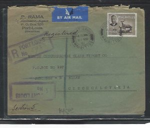 MAURITIUS COVER (P1311B) 1951 KGVI 1R DEER REG COVER TO CZECHOSLOVAKIA