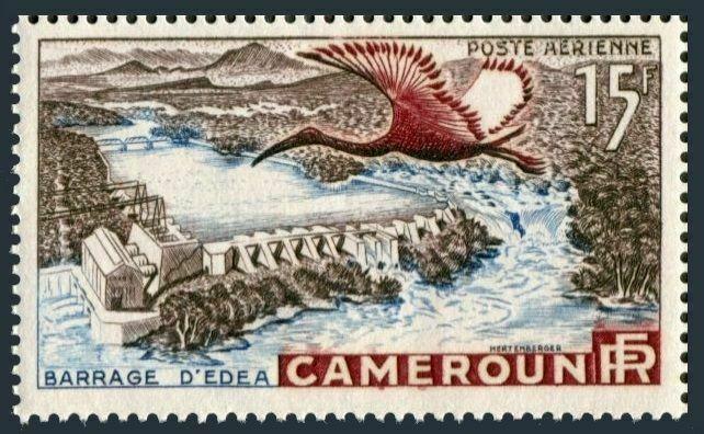 Cameroun C31,MNH.Michel 303. Edea Dam om Sanaga River,1954.Sacred Ibis.