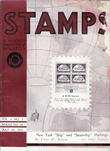 Stamps Weekly Magazine of Philately July 29, 1933 Stamp Collecting Magazine