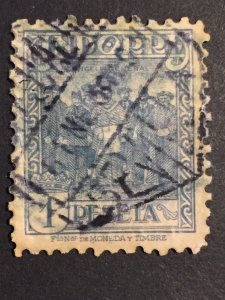 1936 Spain stamp, Andorra 1p peseta, Scott#34a espanola spanish