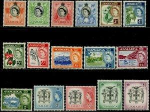 JAMAICA Sc#159-174 1956 QEII Definitives Complete Set OG Mint Hinged