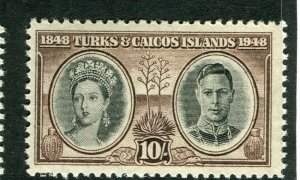 TURKS CAICOS ISLANDS; 1948 early GVI issue fine Mint hinged 10s. value
