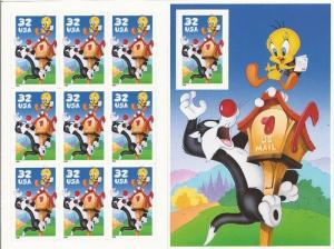 US Stamp  Sylvester & Tweety Pane of 10 Stamps with Imperf Stamp #3205