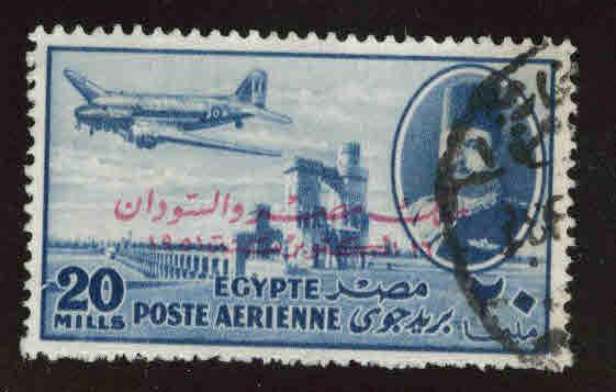 EGYPT Scott C59 Used 1952 airmail with King of Egypt and Sudan opt
